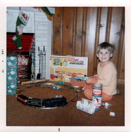 Author at age 3 with train set on Christmas, 1969.